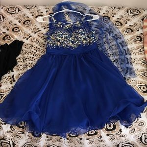 Blue dress with beading and sash